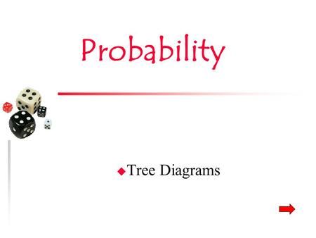Probability u Tree Diagrams. Tree Diagrams u Shows all possible outcomes – Total amount of choices from a group of items – How many of a particular item.