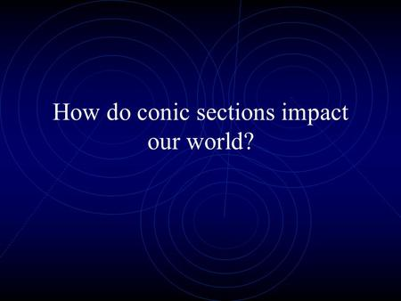 How do conic sections impact our world?. Unit Overview What are conic sections? How do I write and graph the equations of the four basic conic sections?
