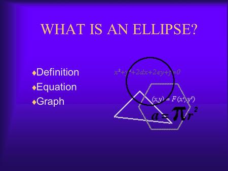 WHAT IS AN ELLIPSE? Definition Equation Graph What is an ellipse? An ellipse is a conic section formed by the intersection of a plane and a cone. Click.