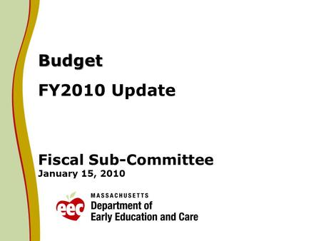 Budget Budget FY2010 Update Fiscal Sub-Committee January 15, 2010.