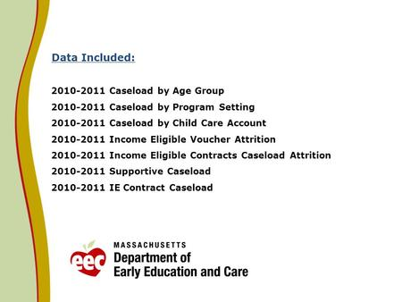 Data Included: 2010-2011 Caseload by Age Group 2010-2011 Caseload by Program Setting 2010-2011 Caseload by Child Care Account 2010-2011 Income Eligible.