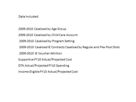 Data Included: 2009-2010 Caseload by Age Group 2009-2010 Caseload by Child Care Account 2009-2010 Caseload by Program Setting 2009-2010 Caseload IE Contracts.