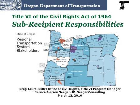 State of Oregon Regional Transportation System Stakeholders