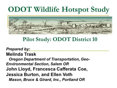 ODOT Wildlife Hotspot Study Pilot Study: ODOT District 10 Prepared by: Melinda Trask Oregon Department of Transportation, Geo- Environmental Section, Salem.
