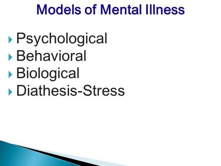 Psychological Behavioral Biological Diathesis-Stress Models of Mental Illness.