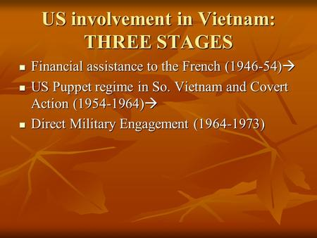 US involvement in Vietnam: THREE STAGES Financial assistance to the French (1946-54) Financial assistance to the French (1946-54) US Puppet regime in.