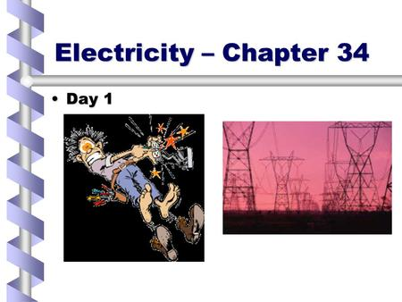 Electricity – Chapter 34 Day 1Day 1. Electrostatics… Wax has excess electrons and the wool is missing someWax has excess electrons and the wool is missing.