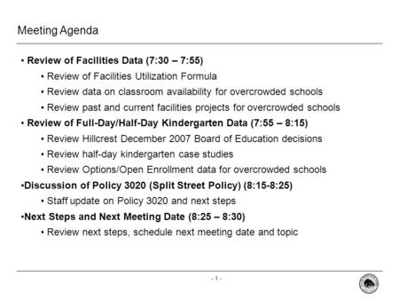 - 0 - Special Committee on School Admissions, Attendance and Boundaries Overcrowded Schools August 29, 2008.