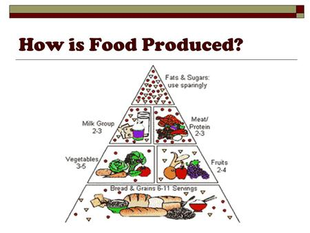How is Food Produced?. What are the environmental effects of producing food? Modern agriculture has a greater harmful environmental impact than any other.