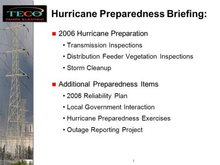 Florida Public Service Commission Internal Affairs Hurricane Season Preparation Paul Davis, Director Energy Control Center June 5, 2006.