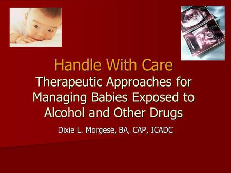 Handle With Care Therapeutic Approaches for Managing Babies Exposed to Alcohol and Other Drugs Dixie L. Morgese, BA, CAP, ICADC.