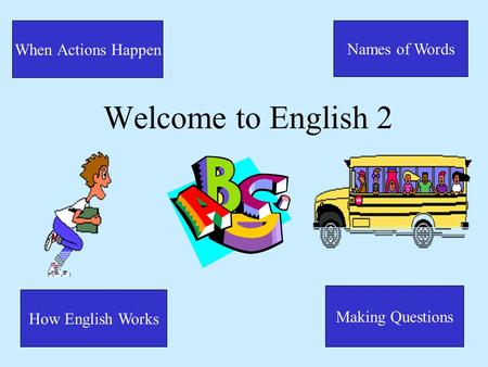Welcome to English 2 Names of Words How English Works When Actions Happen Making Questions.