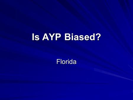 Is AYP Biased? Florida. r = -.86** Excludes alternative, charter, and combination schools Level of significance: ** <=.0001.