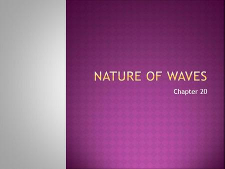 Chapter 20. What do you think of when you hear the word wave? Write a brief description of what you know about them.