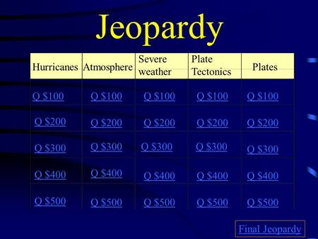 Jeopardy HurricanesAtmosphere Severe weather Plate Tectonics Plates Q $100 Q $200 Q $300 Q $400 Q $500 Q $100 Q $200 Q $300 Q $400 Q $500 Final Jeopardy.
