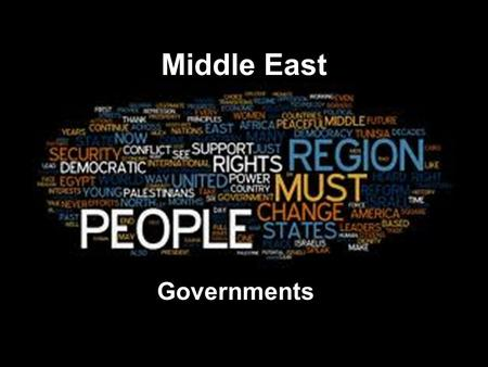 Middle East Governments. Review! Match the word and definition. 1.Unitary 2.Confederation 3.Federal 4.Autocracy 5.Oligarchy 6.Democracy 7.Parliamentary.