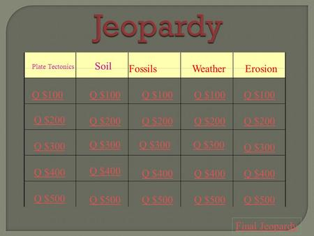 Jeopardy severe weather plate tectonics hurricanes for Soil jeopardy