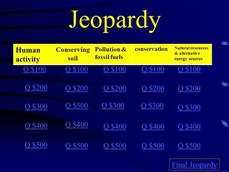 Jeopardy Human activity Conserving soil pollutionconservation Q $100 Q $200 Q $300 Q $400 Q $500 Q $100 Q $200 Q $300 Q $400 Q $500 Final Jeopardy Human.