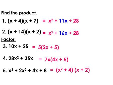 Find the product. 1.(x + 4)(x + 7) 2.(x + 14)(x + 2) = x 2 + 16x + 28 = 5(2x + 5) Factor. 3. 10x + 25 4. 28x 2 + 35x 5. x 3 + 2x 2 + 4x + 8 = 7x(4x + 5)