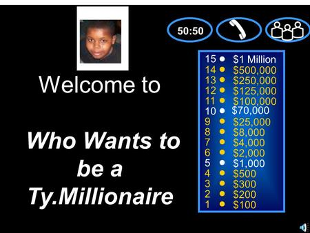 15 14 13 12 11 10 9 8 7 6 5 4 3 2 1 $1 Million $500,000 $250,000 $125,000 $100,000 $70,000 $25,000 $8,000 $4,000 $2,000 $1,000 $500 $300 $200 $100 Welcome.