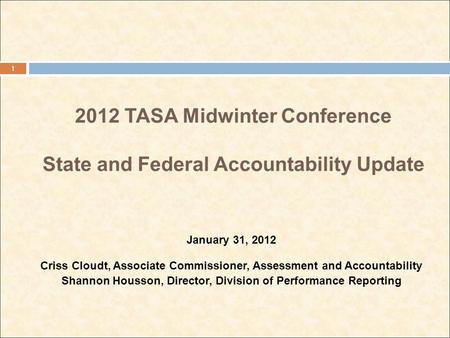 2012 TASA Midwinter Conference State and Federal Accountability Update January 31, 2012 Criss Cloudt, Associate Commissioner, Assessment and Accountability.
