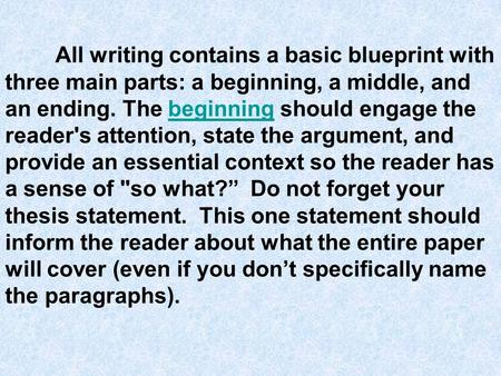 All writing contains a basic blueprint with three main parts: a beginning, a middle, and an ending. The beginning should engage the reader's attention,