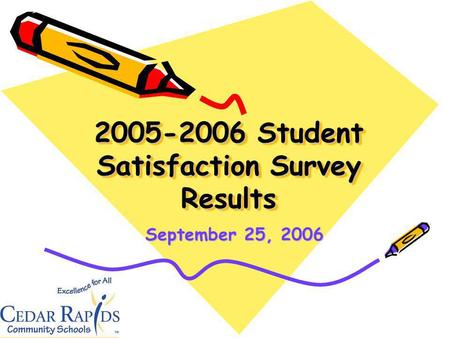 2005-2006 Student Satisfaction Survey Results September 25, 2006.