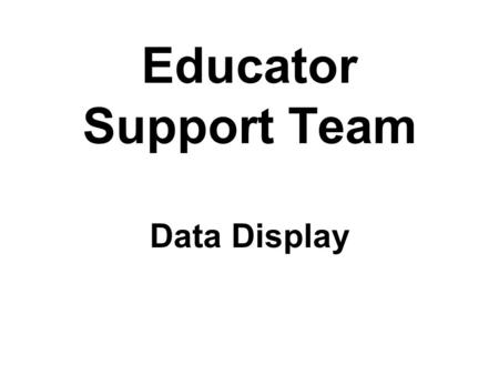Educator Support Team Data Display. Who We Are… The Educator Support Team consists of the President of the Cedar Rapids Education Association, the President.