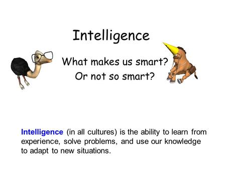 Intelligence What makes us smart? Or not so smart? Intelligence (in all cultures) is the ability to learn from experience, solve problems, and use our.