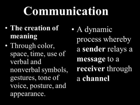 Communication The creation of meaning Through color, space, time, use of verbal and nonverbal symbols, gestures, tone of voice, posture, and appearance.