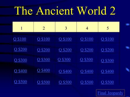 The Ancient World 2 12345 Q $100 Q $200 Q $300 Q $400 Q $500 Q $100 Q $200 Q $300 Q $400 Q $500 Final Jeopardy.