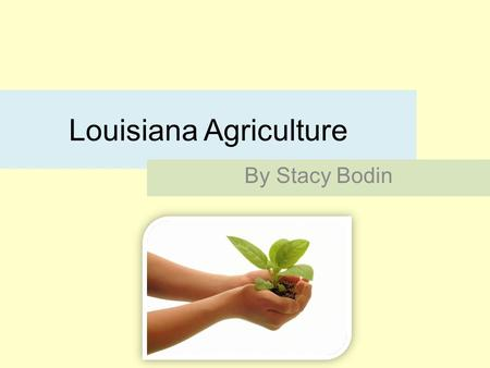 Louisiana Agriculture By Stacy Bodin. Agriculture is a part Louisianas Economy and has been for a long time.