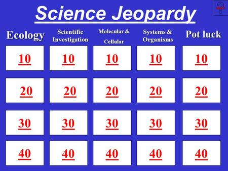 Science Jeopardy 10 20 30 40 10 20 30 40 10 20 30 40 Slide 25 Slide 25 10 20 30Ecology Scientific Investigation Systems & Organisms Molecular & Cellular.