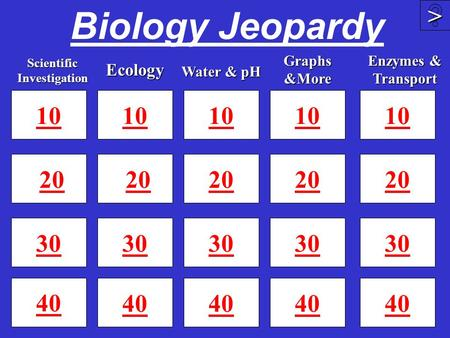 Biology Jeopardy 10 20 30 40 10 20 30 40 10 20 30 40 >>>> 10 20 30 Scientific Investigation Ecology Graphs &More Water & pH 10 20 30 40 Enzymes & Transport.