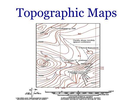 Topographic Maps. What is a Topographic Map? In contrast to most maps, a topographic map shows the shape of the Earths surface by using contour lines.
