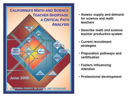 Assess supply and demand for science and math teachers Describe math and science teacher production system Current recruitment strategies Preparation pathways.
