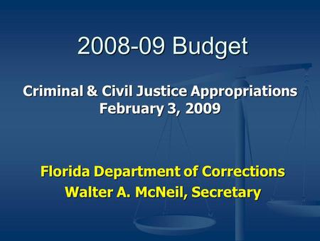 2008-09 Budget Florida Department of Corrections Walter A. McNeil, Secretary Criminal & Civil Justice Appropriations February 3, 2009.