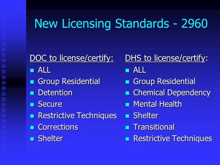New Licensing Standards - 2960 DOC to license/certify: ALL ALL Group Residential Group Residential Detention Detention Secure Secure Restrictive Techniques.