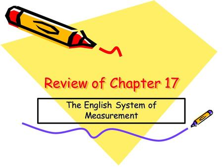 Review of Chapter 17 The English System of Measurement.