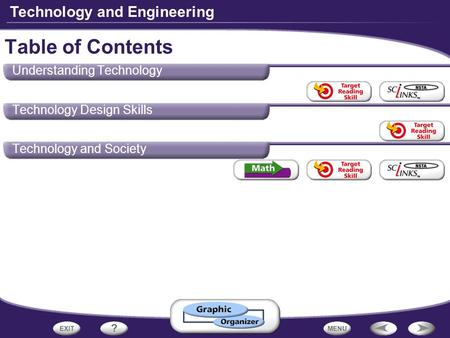 Technology and Engineering Understanding Technology Technology Design Skills Technology and Society Table of Contents.