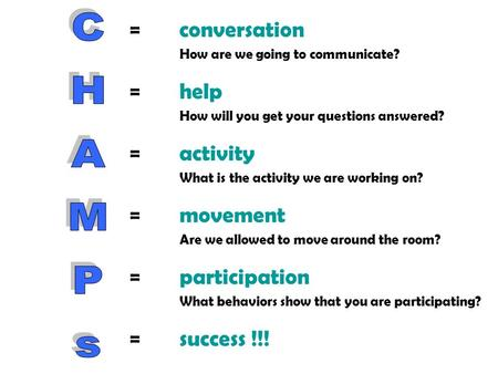 =conversation How are we going to communicate? =help How will you get your questions answered? =activity What is the activity we are working on? =movement.