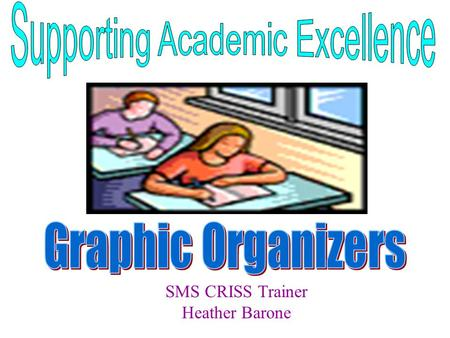 SMS CRISS Trainer Heather Barone. SMS CRISS Trainer Heather Barone Introduction- Graphic Organizers Group Work Museum Walk Create Your Own Graphic Organizer.