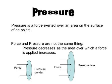 Pressure is a force exerted over an area on the surface of an object. Force and Pressure are not the same thing: Pressure decreases as the area over which.