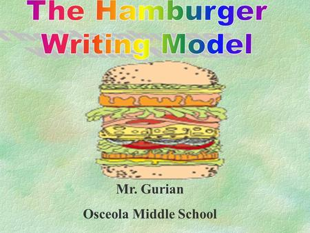 Mr. Gurian Osceola Middle School Objective §Students will write persuasive, expository, and narrative pieces containing the five parts of the hamburger.
