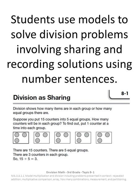 Students use models to solve division problems involving sharing and recording solutions using number sentences. Envision Math - 3rd Grade - Topic 8- 1.