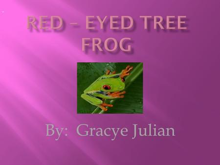 By: Gracye Julian -. Red eye tree frogs have red eyes. Red eye tree frogs have white skin under there chin. Red eye tree frogs have purple skin on there.