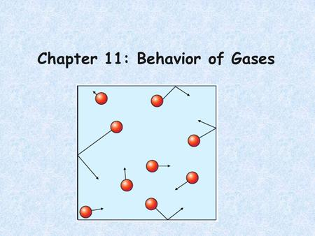 Chapter 11: Behavior of Gases. Particles of Ideal vs Real Gas IdealReal have no volumehave their own volume dont attract or repel each other attract each.