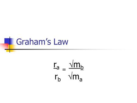 Grahams Law r a = m b r b m a. Grahams Law r a = rate at which substance a travels r b = rate at which substance b travels m a = mass of substance a m.
