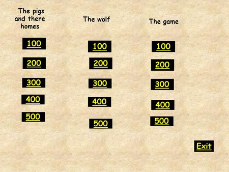 The pigs and there homes 300 400 500 100 200 300 400 500 100 200 300 400 500 100 200 Exit The wolf The game.