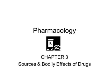 Pharmacology CHAPTER 3 Sources & Bodily Effects of Drugs.
